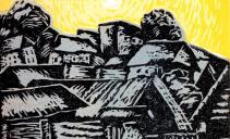 Н.С. Шикалов. Город. Лист из графического альманаха «Всадник» № 1. 1920. Бумага, цветная линогравюра. Из собрания ГМИИ РТ9501